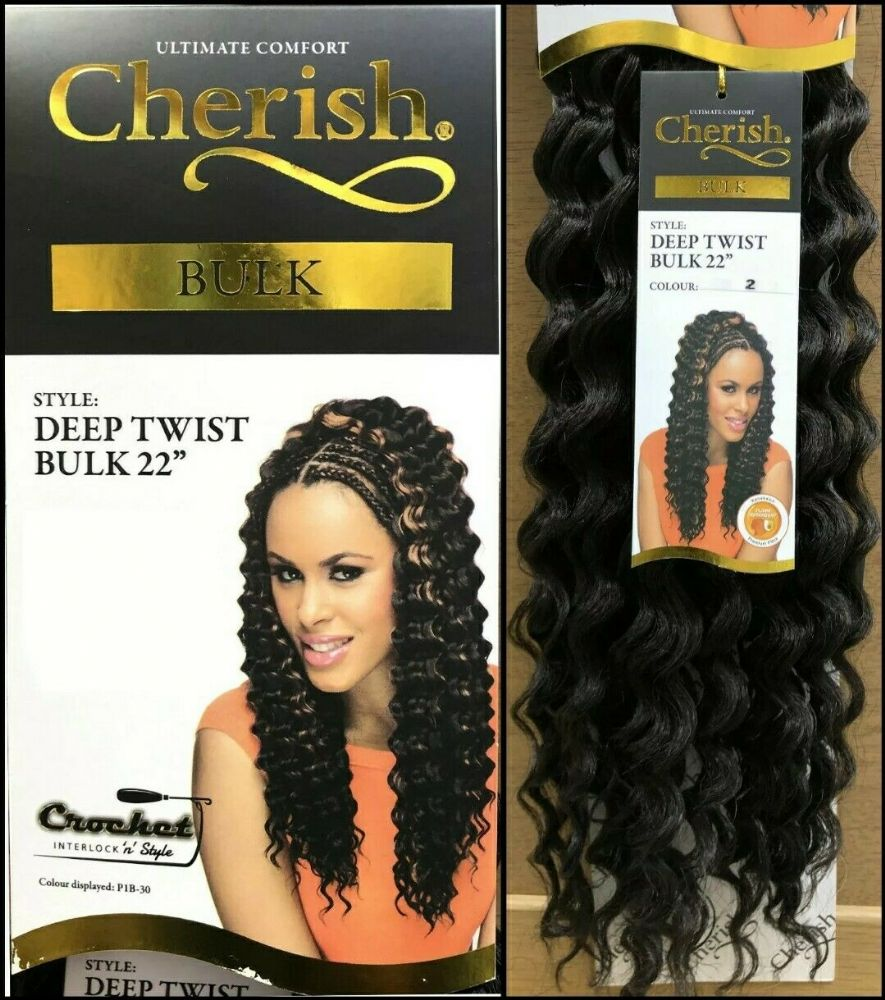 "Cherish Deep Twist Bulk 22"" Synthetic Crochet Braid Curly Hair Extension"
